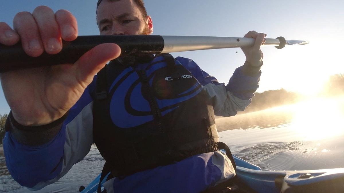 ULtraboyruns on his Dagger Katana kayak at Lochore Meadows in Scotland